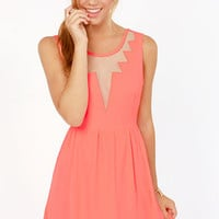 Fast as Lightning Neon Coral Cutout Dress