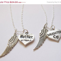Summer Sale Save15% 2  Mother  Daughter Angel Wing  Necklaces