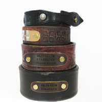 Valentine's Gift for Him - Personalized Latitude Longitude Coordinate Cuff From Upcycled Recycled Vintage Leather Belts Urban Hipster Rustic