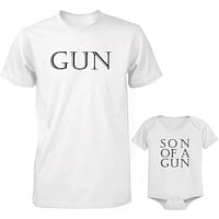 Daddy and Baby Matching White T-Shirt / Bodysuit Combo - Gun and Son of A Gun