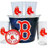 MLB Red Sox Beer Bucket  Pint And Coaster Set | Boston Red Sox Pint & Bucket Gift Set