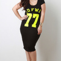 Women's Black IDFWU Print Midi Dress in Plus Sizes