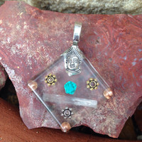Buddha Selenite Magnesite & Copper Orgonite Pendant, spiritual jewelry