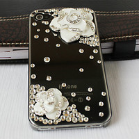 Iphone 4 cases,iphone 4s cases,iphone cases-transparent bling camellia flower iphone 4 covers ,accept custom order for HTC ,Samsung