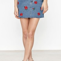 PacSun Embroidered Rose Denim Skirt at PacSun.com