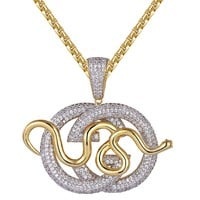 14k Gold Finish  Luxury Snake Logo Pendant Chain