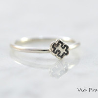 Puzzle piece ring, Puzzle ring, Autism Awareness, Stackable ring, Puzzle piece stack, Great gift, Sterling silver ring, Puzzle piece jewelry