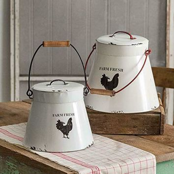 Farmhouse Country Vintage Inspired Flared Bottom Buckets with Lids Set of 2