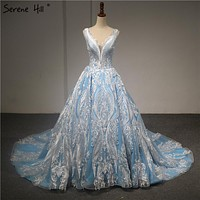 High-end V-Neck Sleeveless Lace Up Wedding Dress 2018 New Appliques Pearls Sexy Fashion Bridal Wedding Gown Real Photo