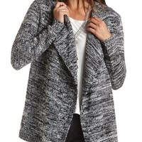 Marled Open Front Cardigan by Charlotte Russe - Ivory Combo