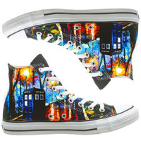 Doctor Who painted shoes, custom shoes by natalshoes