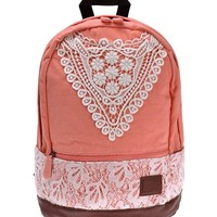 Girl's Canvas Crochet Lace Backpack Bag for School Outdoor (pink)
