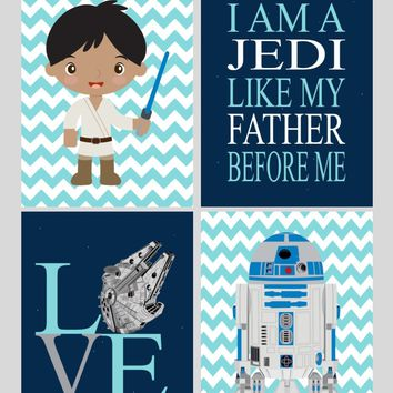 African American Star Wars Nursery Decor Set of 4 Prints, I Am A Jedi Like My Father Before Me, Love, R2D2 and Luke Skywalker