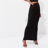 Black ruched side jersey maxi skirt - Maxi Skirts - Skirts - women