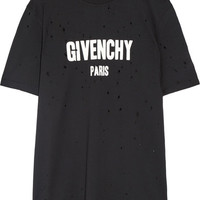 Givenchy - Distressed printed cotton-jersey T-shirt