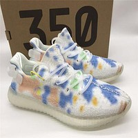 Adidas Yeezy 350 Rainbow White Colorful Graffiti Running Sneakers Shoes