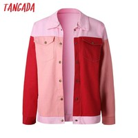 Tangada women denim jacket coat 2018 autumn vintage red jacket jeans oversized outerwear korean ladies jackets bomber pink aon52