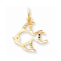 Solid 10k Yellow Gold Satin Gold Fish Pendant