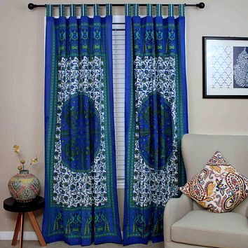 Peacock Floral Tab Top Curtain Cotton Panel Drape Blue Green Red Tan White 44x88