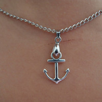 Antique Silver Necklace-- Antique silver Anchor Necklace Fashion Jewelry