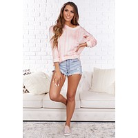 Babe in Charge Marbled Distressed Sweater (Pink)