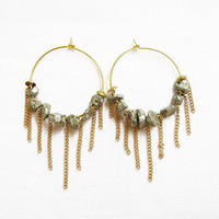 Pyrite Fringe Hoop Earrings, Gold Hoop Statement Earrings,  rough pyrite nuggets, gold plated chains and hoops