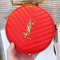 YSL New fashion leather round shopping and leisure shoulder bag crossbody bag Red