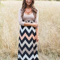 Block Zig-Zag Pattern Sleeve A-Line Maxi Dress
