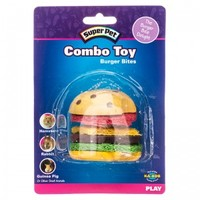 Super Pet Super Pet Combo Toy - Crispy & Wood Hamburger Small Pet Chew Toys