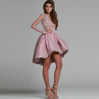 Elegant Robe De Cocktail Dresses 2016 V  Neck Lace Appliques with Long Sleeves  High Low Short Prom Gown Homecoming Dresses