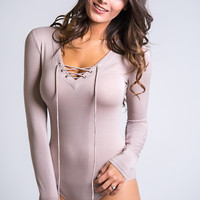 Wishing For Weekends Lace Up Long Sleeve Bodysuit (Taupe)