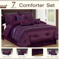 7 Piece Faux Silk Flocking Purple Sophia Comforter Set Queen