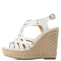 White Strappy Slingback Espadrille Wedge Sandals by Charlotte Russe