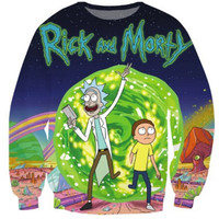 2016 S-5XL Creative 3D Print sweatshirt Rick and Morty Men Sweatshirt Character Fashion Wear Moletom