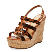 Schutz Women's Leather & Pony Hair Wedge Sandal - Brown -