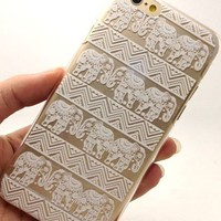 iPhone 6S Case,iPhone 6 Case,Hundromi iphone 6 6S Plastic Transparent Clear Case Cover Henna White Floral Paisley Flower Mandala for iPhone 6/6S(4.7-inch)