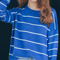 Blue Striped Pattern Sweatshirt