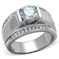 Men's 2CT Russian Lab Diamond Wedding Bands Ring