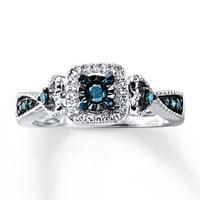 Blue Diamond Promise Ring 1/4 ct tw Round-cut Sterling Silver