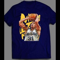 REGGIE MILLER CUSTOM ART BASKETBALL INSPIRED T-SHIRT