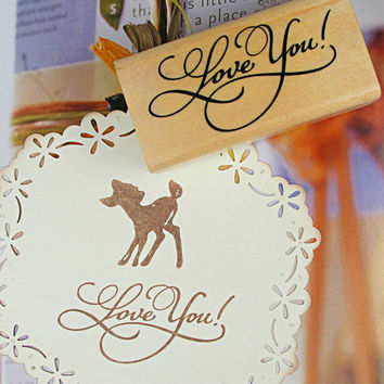 Handmade Wood & Rubber Round Stamps with Love You message, Wedding Stamp, Valentine's Day, Handmade Cards, Gift Tags, Letters
