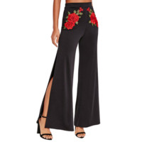 Floral Embroidery High Waist Pants