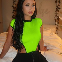 Women Fashion Neon Short Sleeve Side Tie Bodysuit Top