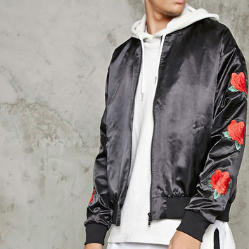 Embroidered Roses Satin Jacket