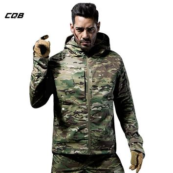CQB Outdoor Tactical Military Winter Hiking Camouflage Jackets Men's Fleece Thermal Coat Water Repellent Clothes for Hunting