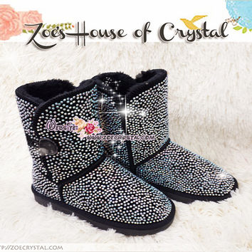 PROMOTION WINTER Bling and Sparkly Strass Black Bailey SheepSkin Wool BOOTS w shinning Crystals