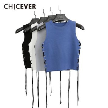 CHICEVER 2018 Spring Sleeveless Crop Top Female Knitted Short Side Wear Bandage Women's Tops Vest Black Clothes Fashion Korean