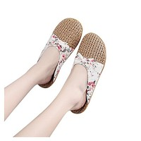 Women Flax Slippers Sandals Summer Comfortable Non-slip Ladies Home Flip Flop Cross-tied Casual Indoor Shoes Multicolor