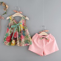 2017 Baby Girl Clothing Sets Vest+Shorts For Girl Summer Style Sleeveless Floral Print Kids Clothes Toddler Girls Suit  2-7Ages