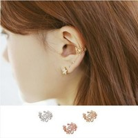 Korean Floral Diamonds Earring Jewelry [6586056327]
